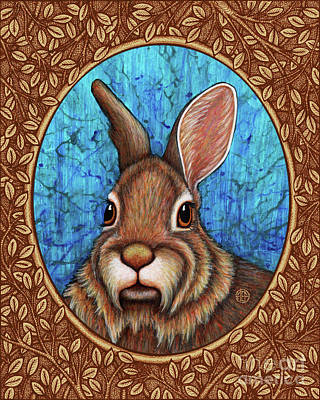 Painting - Eastern Cottontail Portrait - Brown Border by Amy E Fraser