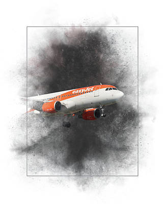 Mixed Media - Easyjet Airbus A319-111 Painting by Smart Aviation