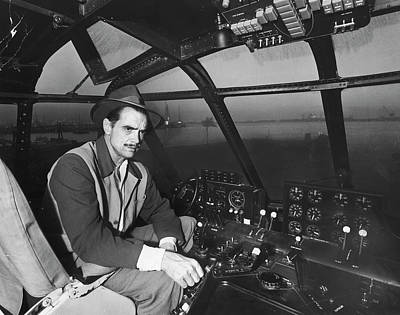 Flying Photograph - Eccentric Millionaire Howard Hughes by J. R. Eyerman