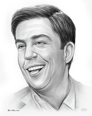 Drawings - Ed Helms by Greg Joens