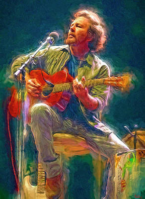 Neil Young Wall Art - Mixed Media - Eddie Vedder by Mal Bray