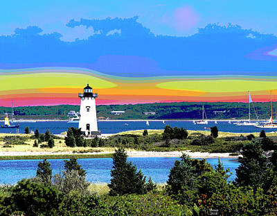 City Sunset Mixed Media - Edgartown Light Station by Charles Shoup