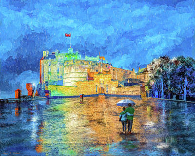 Painting - Edinburgh Castle In The Rain by Mark Tisdale