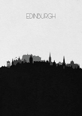 Digital Art - Edinburgh Cityscape Art by Inspirowl Design