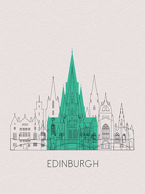 Digital Art - Edinburgh Landmarks by Inspirowl Design
