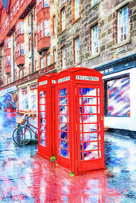 Photograph - Edinburgh Red Phone Box by Mark Tisdale