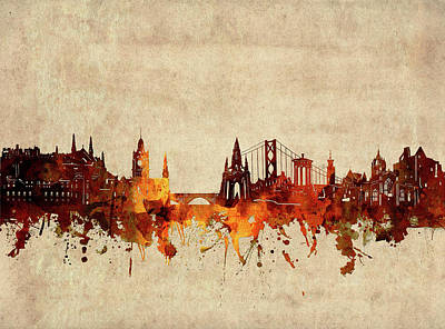 Abstract Skyline Royalty-Free and Rights-Managed Images - Edinburgh Skyline Sepia by Bekim M