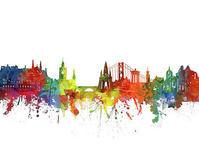 Abstract Skyline Royalty-Free and Rights-Managed Images - Edinburgh Skyline Watercolor 2 by Bekim M