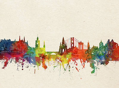 Abstract Skyline Royalty-Free and Rights-Managed Images - Edinburgh Skyline Watercolor by Bekim M