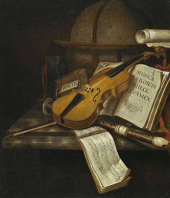 Music Paintings - Edwaert Collier - A vanitas still life with a violin, a recorder, and a score of music on a marble t by Celestial Images