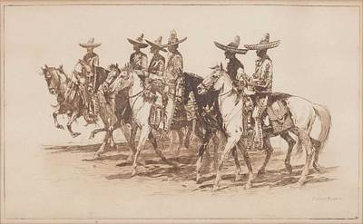 Recently Sold - Sports Paintings - Edward Borein  1872-1945  Los Charros. by Edward Borein