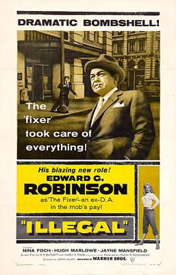 Edward G. Robinson Wall Art - Mixed Media - Edward G. Robinson In 1955 Film Illegal by Zal Latzkovich