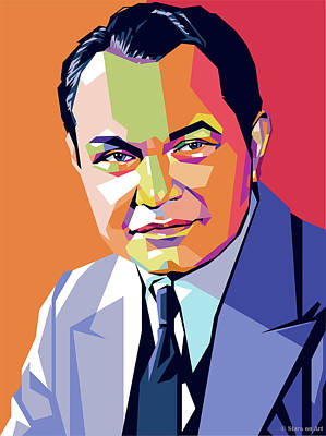 Black And White Horse Photography - Edward G. Robinson by Stars on Art