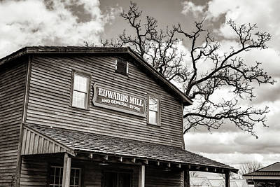 Photograph - Edwards Water Mill At College Of The Ozarks - Sepia by Gregory Ballos