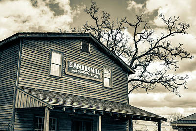 Photograph - Edwards Water Mill In Sepia At College Of The Ozarks by Gregory Ballos