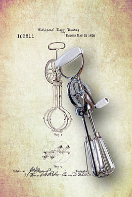 Patent Wall Art - Photograph - Eggbeater With Antique Eggbeater Patent by Tom Mc Nemar