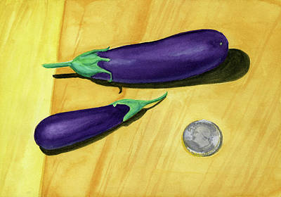 Painting - Eggplants from a drought by Laura Dozor