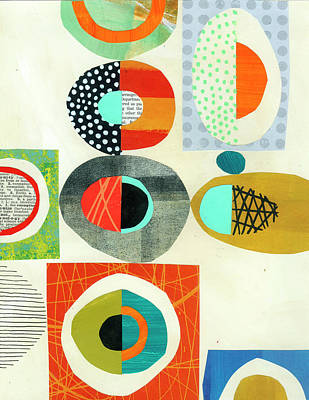 Collage Wall Art - Painting - Eggs, Bagels, Pebbles #1 by Jane Davies