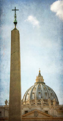Wall Art - Photograph - Egyptian Obelisk And St Peter's Dome Rome Italy by Joan Carroll