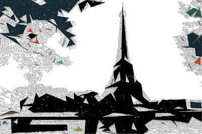 Abstract Skyline Mixed Media - Eiffel Tower Abstract by David Ridley