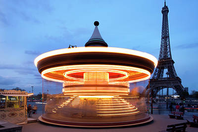Photograph - Eiffel Tower And Merry-go-round In Paris by Tony Burns