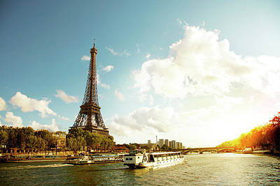 Mode Of Transport Photograph - Eiffel Tower And The River Seine by Vintagerobot