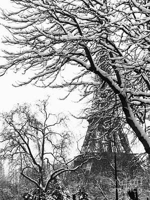 Photograph - Eiffel Tower dressed with snow #1 by Cara Jolivet