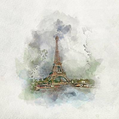 Photograph - Eiffel Tower In Paris, France In Watercolors. by Michal Bednarek