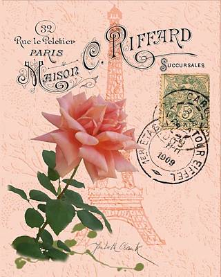 Digital Art - Eiffel Tower Pink Rose by Loribeth Clark