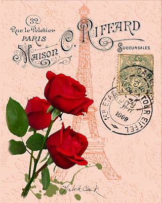 Digital Art - Eiffel Tower Red Rose by Loribeth Clark