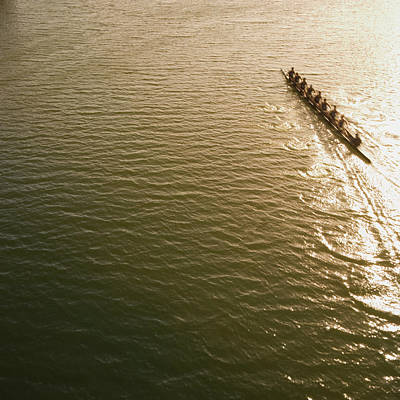 Oar Photograph - Eight Person Rowing Team In Shell With by David Madison