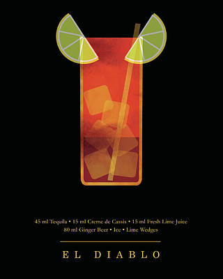 Digital Art - El Diablo Cocktail - Classic Cocktails Series - Black and Gold - Modern, Minimal Decor by Studio Grafiikka