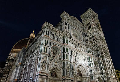 Photograph - el Duomo The Cathedral of Florence Italy Night by Wayne Moran