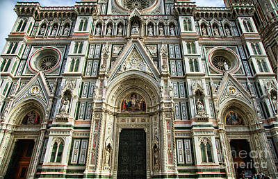 Photograph - el Duomo The Florence Italy Cathedral Front Facade Details by Wayne Moran