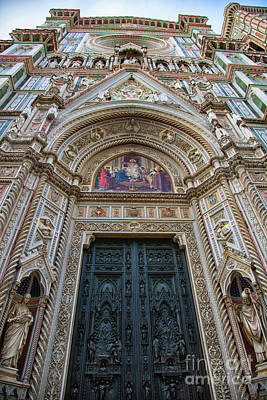 Photograph - el Duomo The Florence Italy Cathedral Main Entrance Details by Wayne Moran