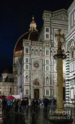 Photograph - el Duomo The Florence Italy Cathedral People at Night  by Wayne Moran