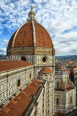 Photograph - el Duomo The Florence Italy Cathedral View from Tower Vertical by Wayne Moran