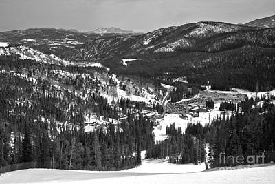 Photograph - Eldora Mountain Base Lodge And Beyond Black And White by Adam Jewell
