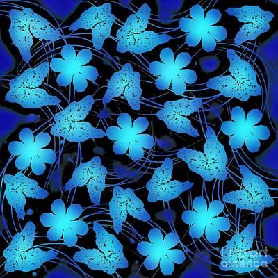 Mixed Media - Electric Blue Floral  by Rachel Hannah