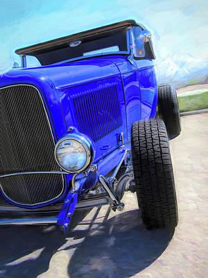 Photograph - Electric Blue Hot Rod Roadster by David King