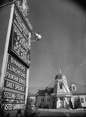 Photograph - Electric Sign In Front Of Restaurant Fea by Margaret Bourke-white