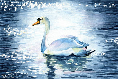 Painting - Elegance In Motion - Swan Painting by Dora Hathazi Mendes