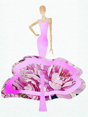 Digital Art Rights Managed Images - Elegant purple peony dress watercolor Royalty-Free Image by Mihaela Pater
