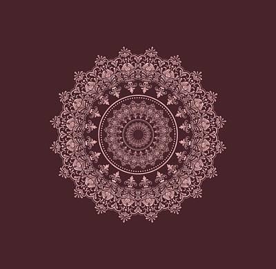 Digital Art - Elegant Rose Gold Mandala Burgundy Purple by Georgeta Blanaru