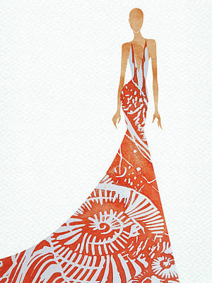 Digital Art Rights Managed Images - Elegant summer beach dress watercolor Royalty-Free Image by Mihaela Pater