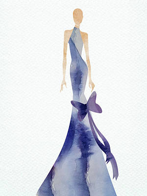 Digital Art Rights Managed Images - Elegant watercolor blue dress Royalty-Free Image by Mihaela Pater