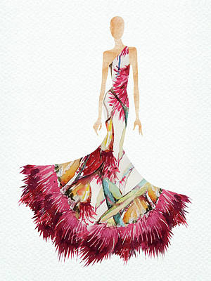 Digital Art Rights Managed Images - Elegant watercolor floral dress Royalty-Free Image by Mihaela Pater