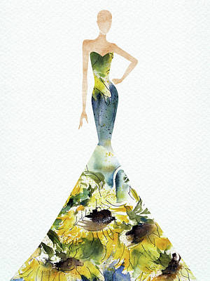 Digital Art Rights Managed Images - Elegant watercolor sunflower dress Royalty-Free Image by Mihaela Pater