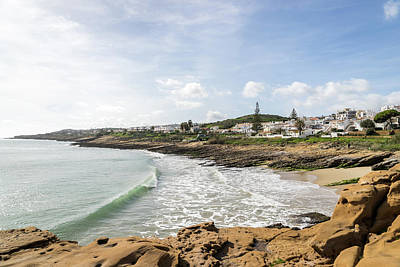 Typography Tees - Elegant Wave Curl at Praia da Luz or Beach of the Light Portugal by Georgia Mizuleva