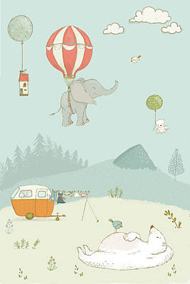 Photograph - Elephant And Polar Bear Whimsical Art For Kids by Matthias Hauser